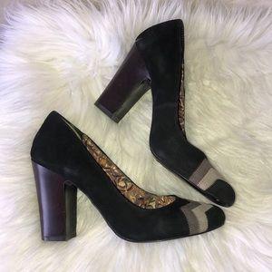 Missoni stacked heel pumps suede baby doll black